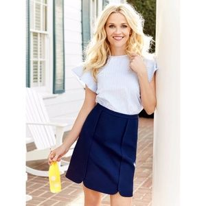 Draper James 'Margaret' solid navy scallop skirt